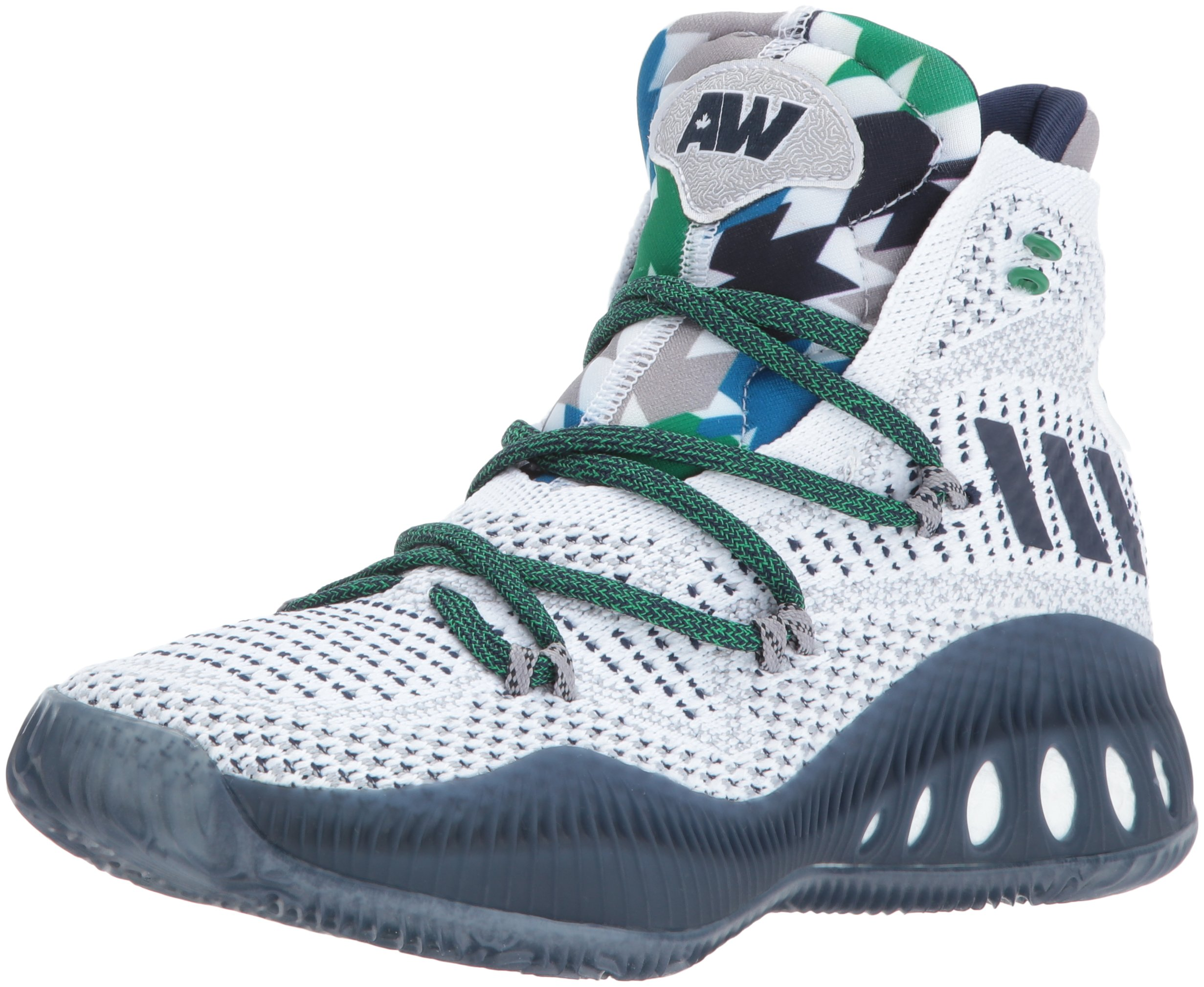 adidas Performance Kid's Shoes   Boy's Crazy Explosive Primeknit Basketball, White/Collegiate Navy/Mgh Solid Grey, (7 M US Big Kid)