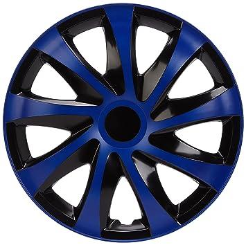 NRM ko252 Tapacubos Draco CS, Negro/Azul, 16 Pulgadas, Juego de 4