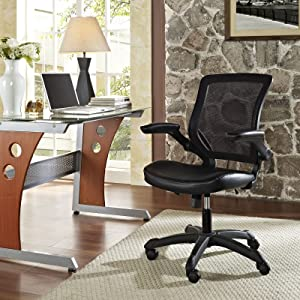 Modway Veer Office Chair with Mesh Back and Black Mesh Seat With Flip-Up Arms- Ergonomic Desk And Computer Chair