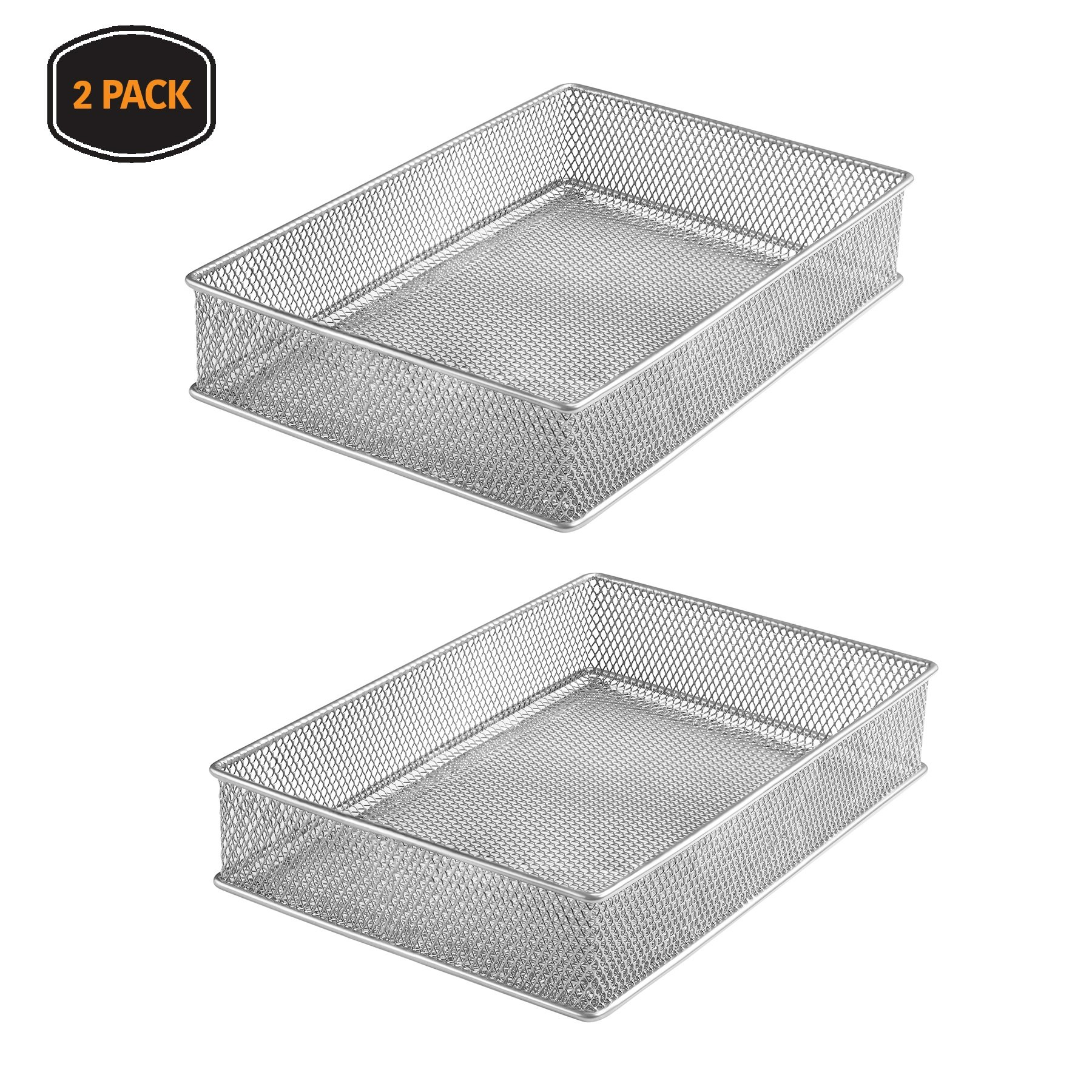 Ybm Home Silver Mesh Drawer Cabinet and or Shelf Organizer Bins, School Supply Holder Office Desktop Organizer Basket 1590s-2 (2, 6x9x2 Inch)