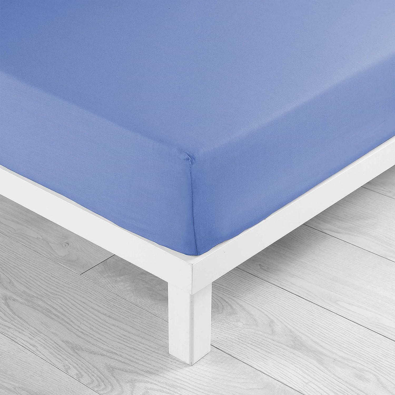 Jersey Liso 90 X 190 Cm Azul Sabana Ajustable 1 Persona Jersey Uni Douceur dInt/érieur 1640310