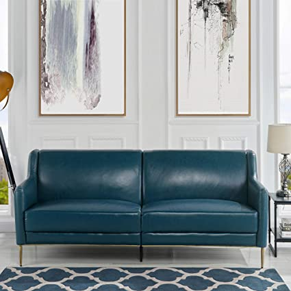 MidCentury Leather Sofa, Sleek Simple Living Room Couch (Blue)