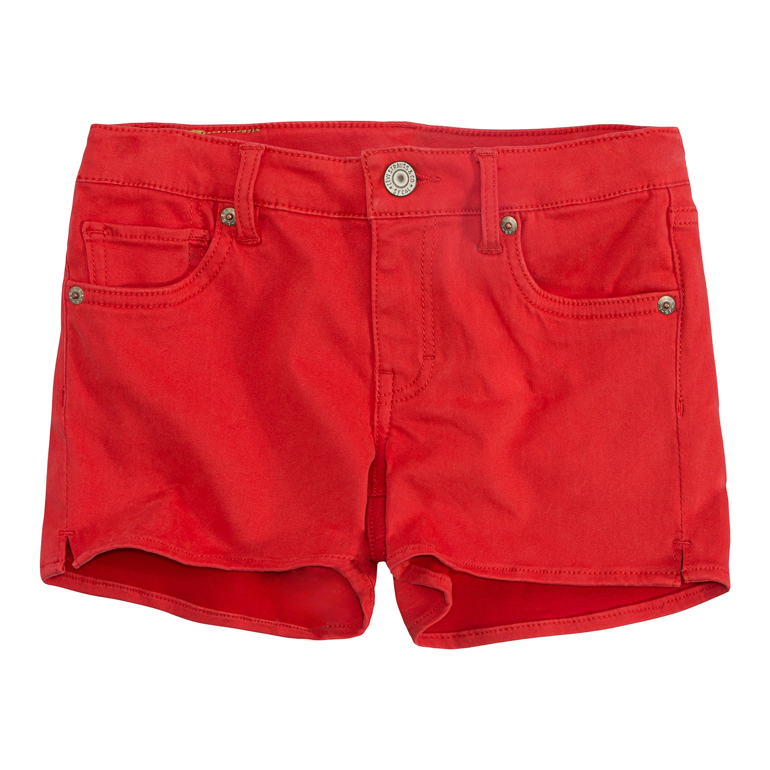 Levi's Girls' Little Soft Brushed Shorty Shorts, Poinsettia, 6