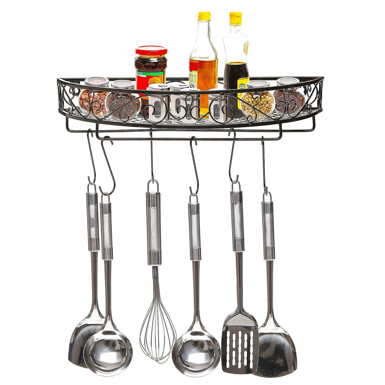 Amazon.com: Scrollwork Design Wall Mounted Black Metal Pot Hanger / Cooking Utensils  Rack / Kitchen Shelf   MyGift: Home U0026 Kitchen