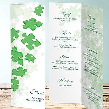 Menükarte Goldene Hochzeit Puzzleteil 20 Karten Vertikale