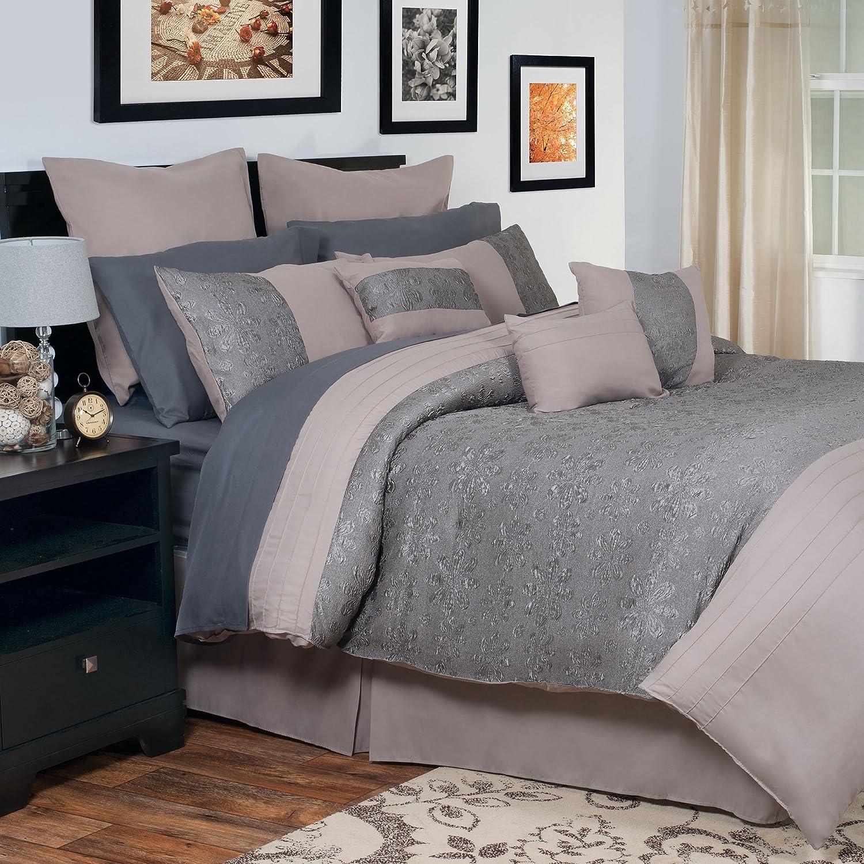 Queen 66-26-Q Lavish Home 13-Piece Leah Embroidered Comforter Set