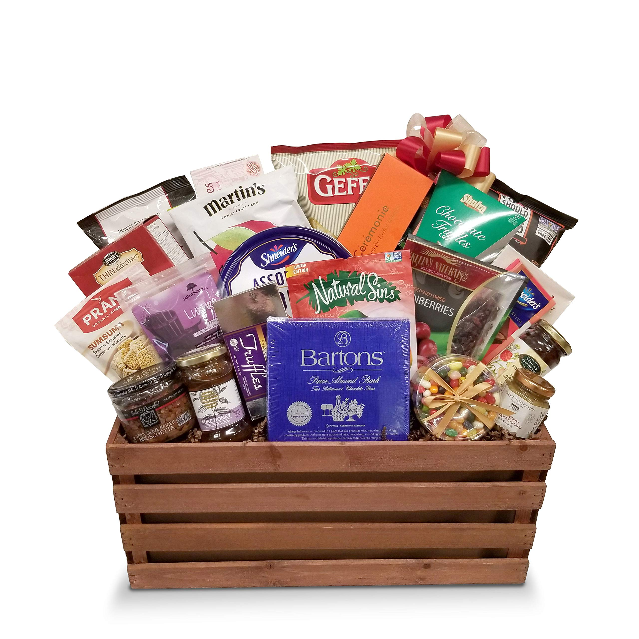 CDM product Kosher Rosh Hashana Holiday Gift Basket with Sweets, Apple Chips, Nuts, Honey Cookies, Chocolates and More big image