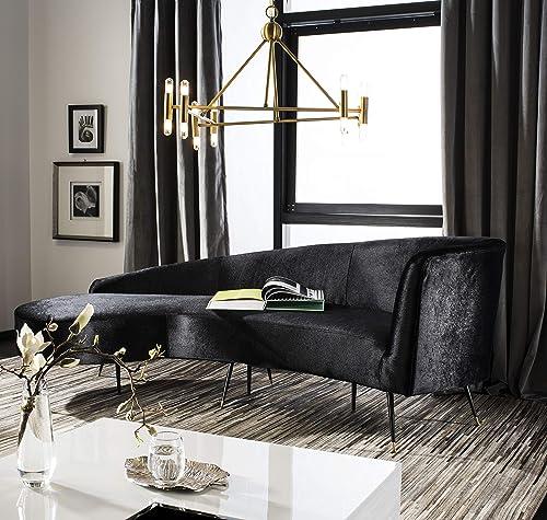 Safavieh Couture Home Evangeline Modern Glam Black Velvet Parisian Sofa