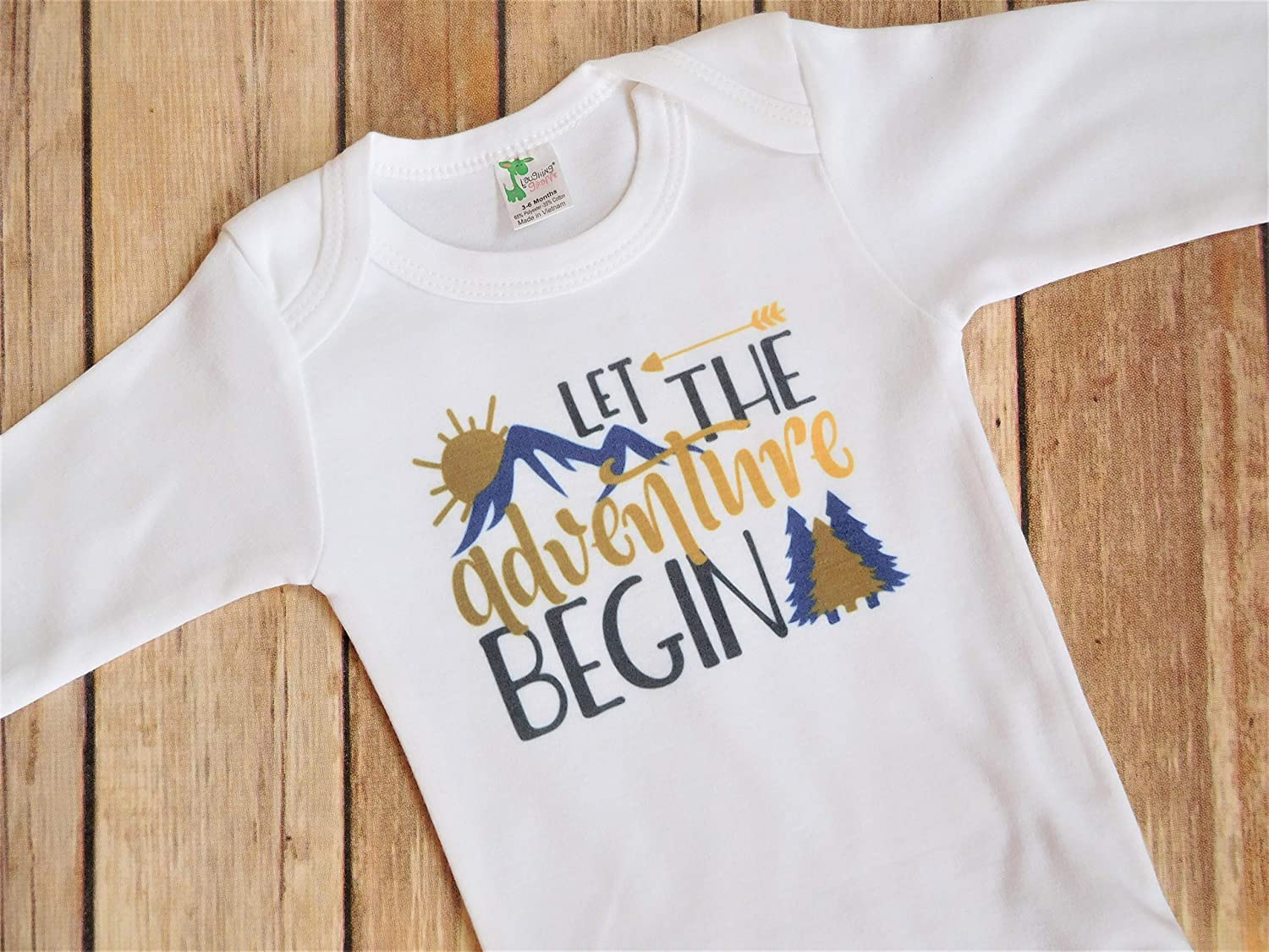 Baby Shower Present - 3-6 Months Long Sleeve Baby Bodysuit - Let the Adventure Begin - Colorado Mountains