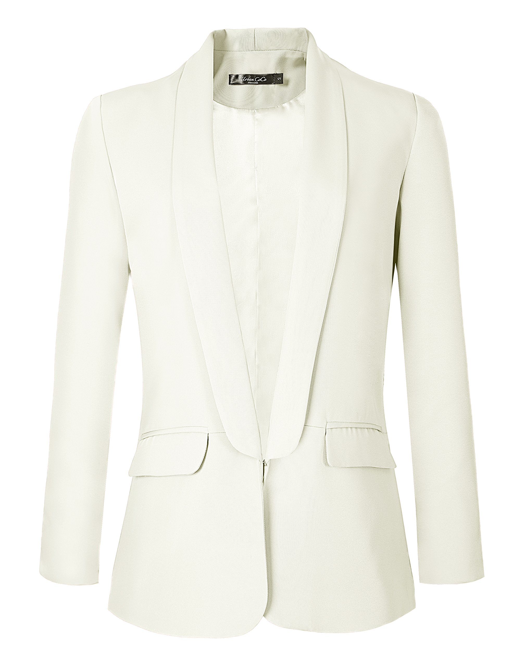 Urban CoCo Women's Office Blazer Jacket Open Front (L, White)