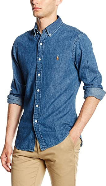 Ralph Lauren Slim FIT 3BD PPC SPT Camisa Casual, Azul (Dark Wash ...