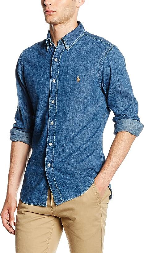 Ralph Lauren Slim FIT 3BD PPC SPT Camisa Casual, Azul (Dark Wash ...