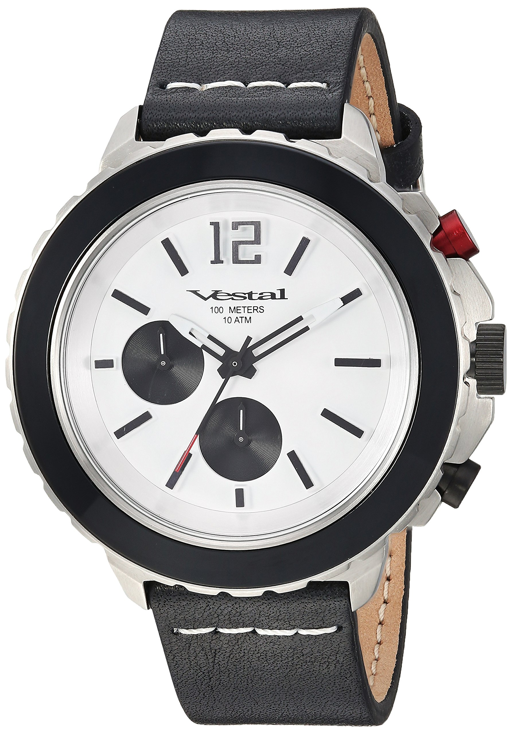 Vestal Yacht Stainless Steel Japanese-Quartz Watch with Leather Strap, Black, 20 (Model: YAT44CL02.BKWH)