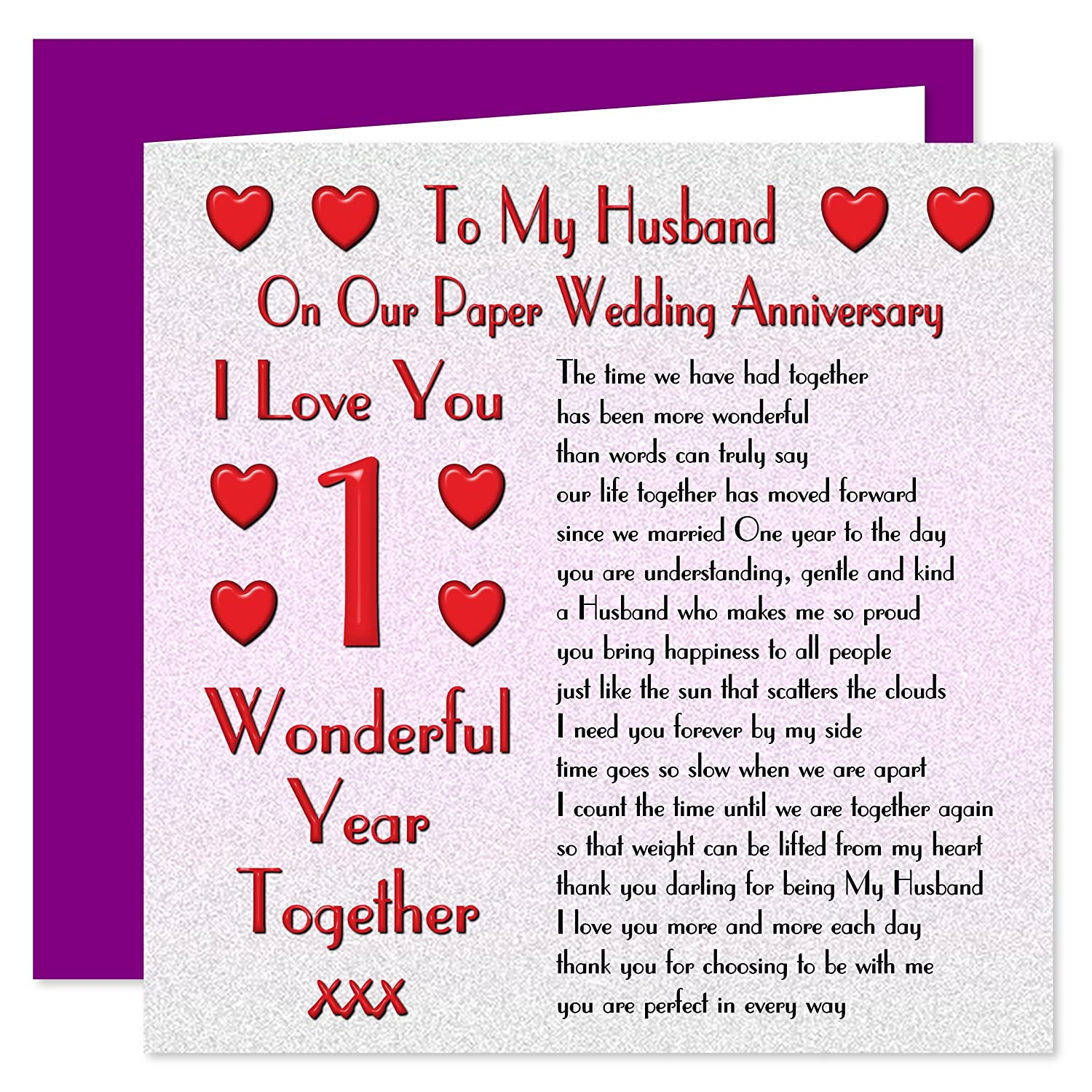 My Husband 1st Wedding Anniversary Card Our Paper Anniversary 1 Year Sentimental Verse I Love You Amazon fice Products