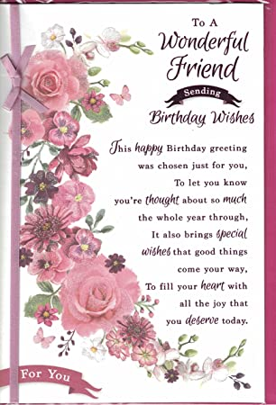 friend birthday card to a lovely friend wishing you a wonderful birthday hanging basket