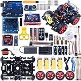 Kuman スマートカー 日本語マニュアル Arduino用 ロボットカー 4輪 超音波 コントロール UNO R3 電子キット 子供 教育 電子技術者 学生 おもちゃ Sm11