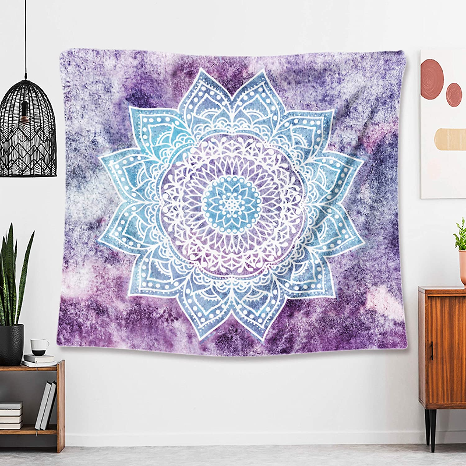 "Bohemian Floral Hippie Indian Chakra Mandala Tapestry Wall Hanging Tapestries for Bedroom Living Room Dorm Decor - Trippy Psychedelic Aesthetic Wave Art Print Medallion Room Decor - Blue Pink 59""×59"""