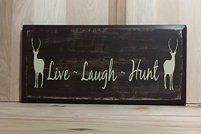 Live Laugh Hunt Wood Sign, Hunting Home Décor, Deer Hunting Signs