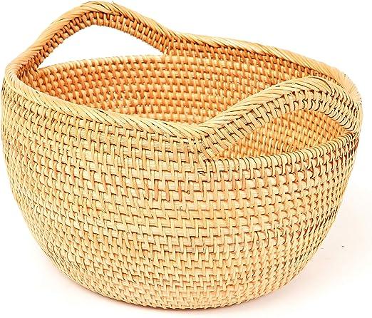 Black Knitting Vintage Rattan Cake Basket Wicker Storage Dishes Home Decor