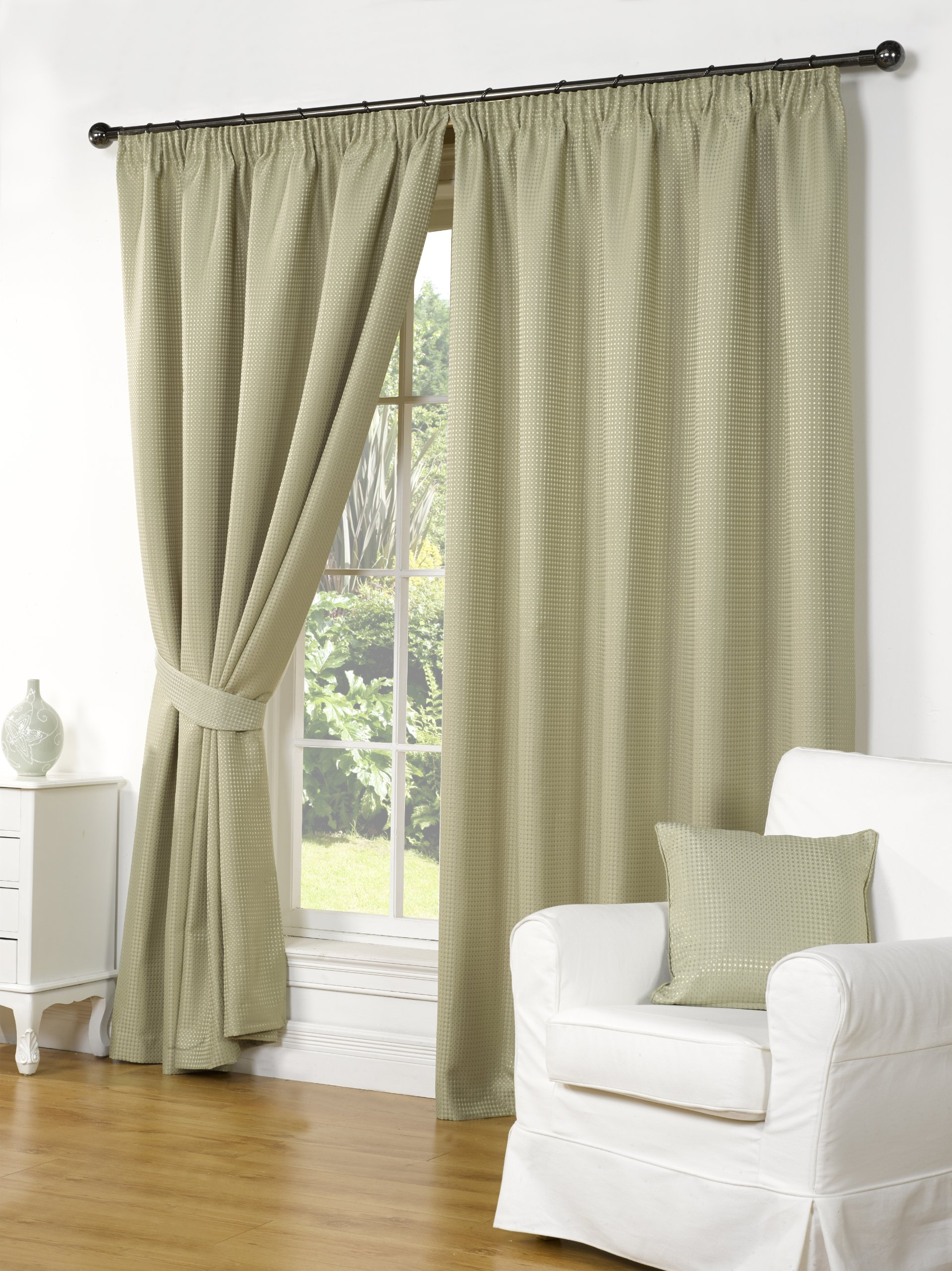 ELEGANT STYLISH SAGE GREEN WAFFLE FULLY LINED PENCIL PLEAT CURTAINS 66 X 90
