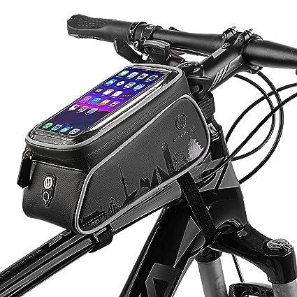 Bolsas para cuadros de bicicletas, pantalla táctil resistente al agua Ciclismo Manillar Parte frontal del marco del teléfono Soporte para el iPhone ...