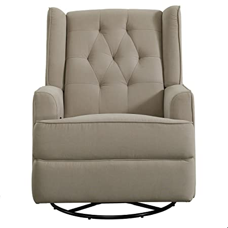 Pulaski DS-D105-006-497 Traditional Shelter Back Swivel Recliner Glider, Beige