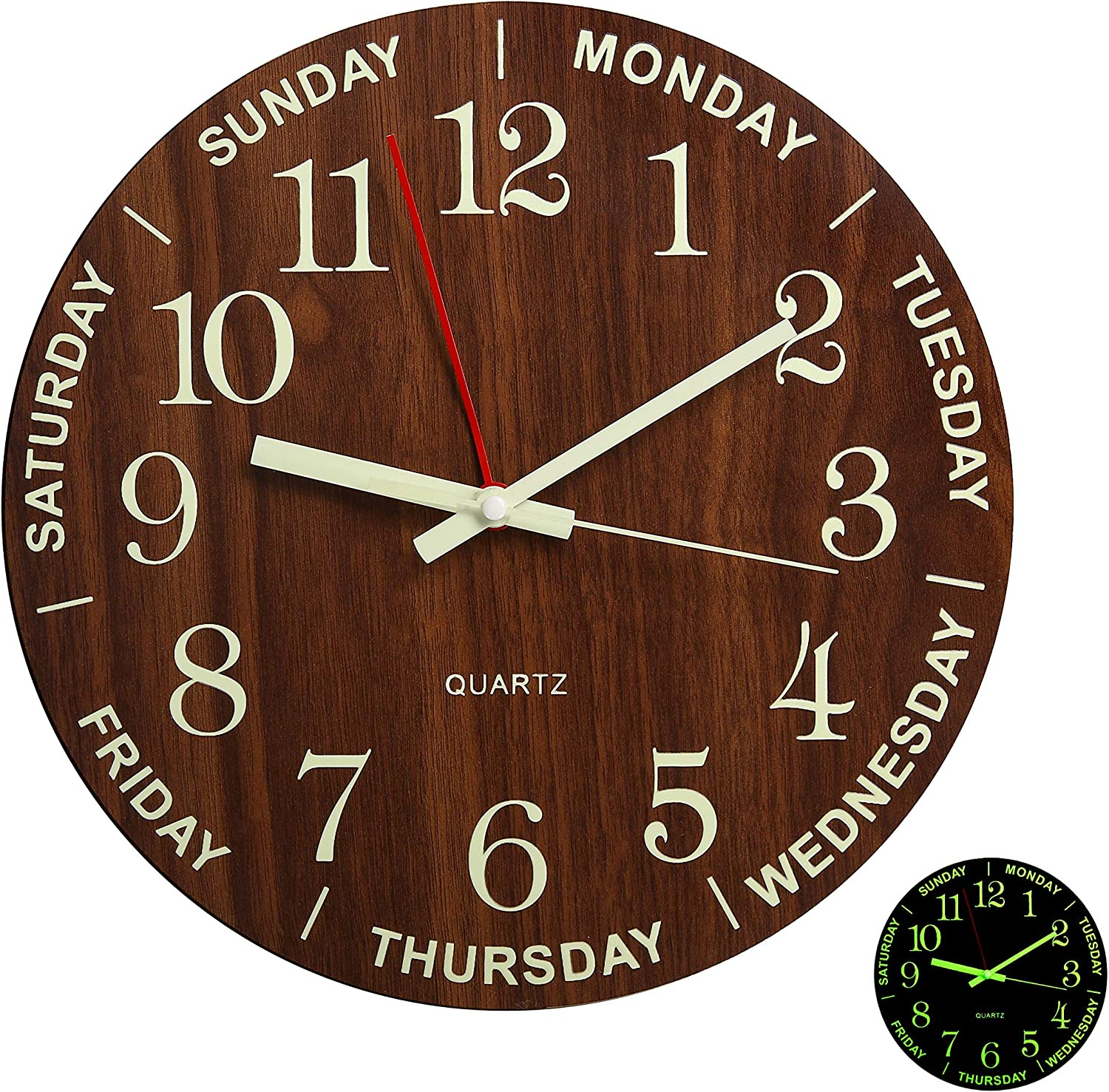 """12"""" Night Light Function Wooden Round Wall Clock Vintage Rustic Country Style for Kitchen Bedroom Office Home Large Numbers Battery Operated Clocks"""