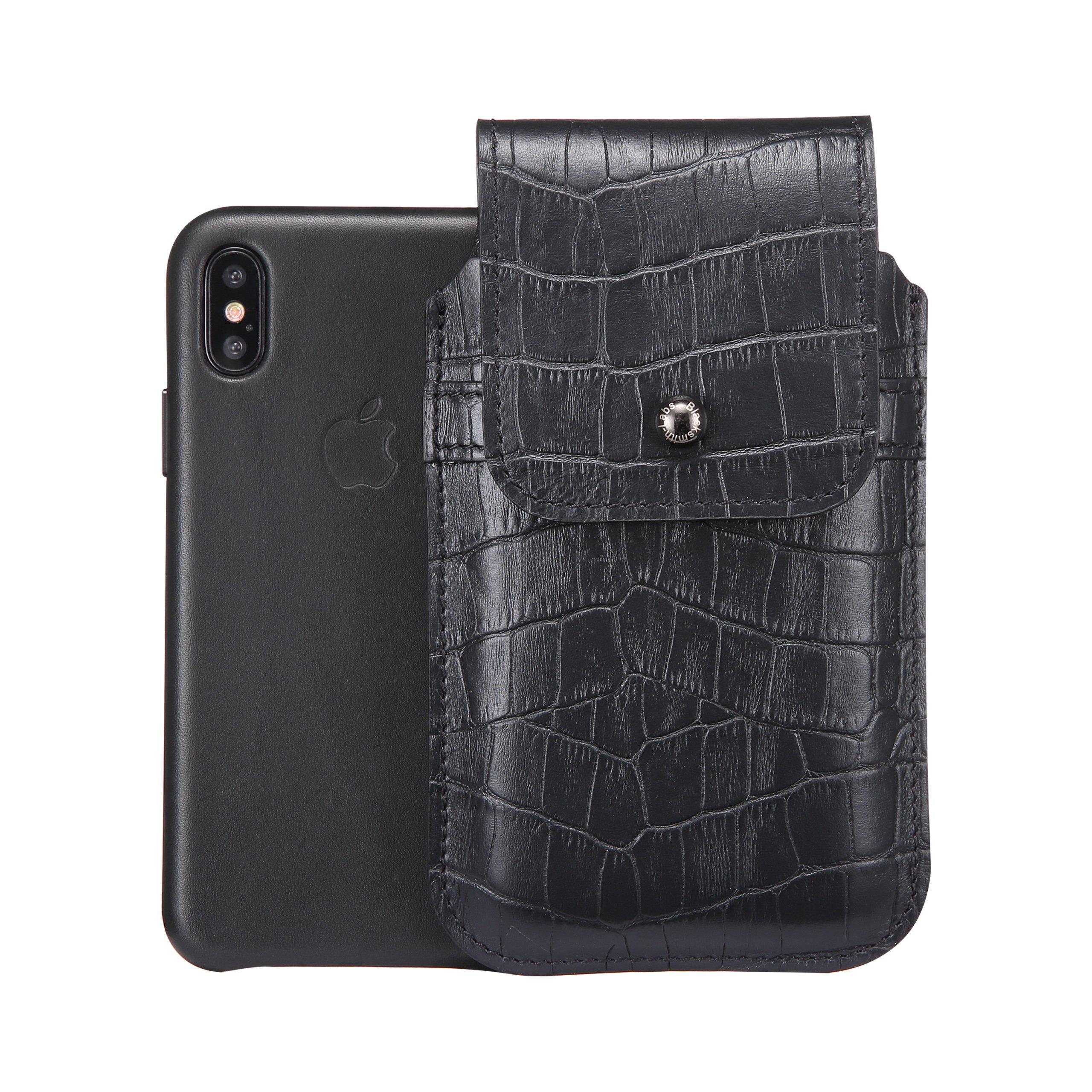 Blacksmith-Labs Barrett Mezzano 2017 Premium Oversized Genuine Leather Swivel Belt Clip Holster for Apple iPhone X for use with Apple Leather Case - Black Croc Embossed Cowhide, Gunmetal Belt Clip