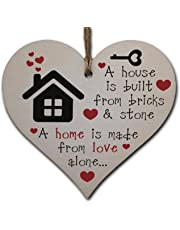 Handmade Wooden Hanging Heart Plaque Gift for New Home Perfect House Warming Present