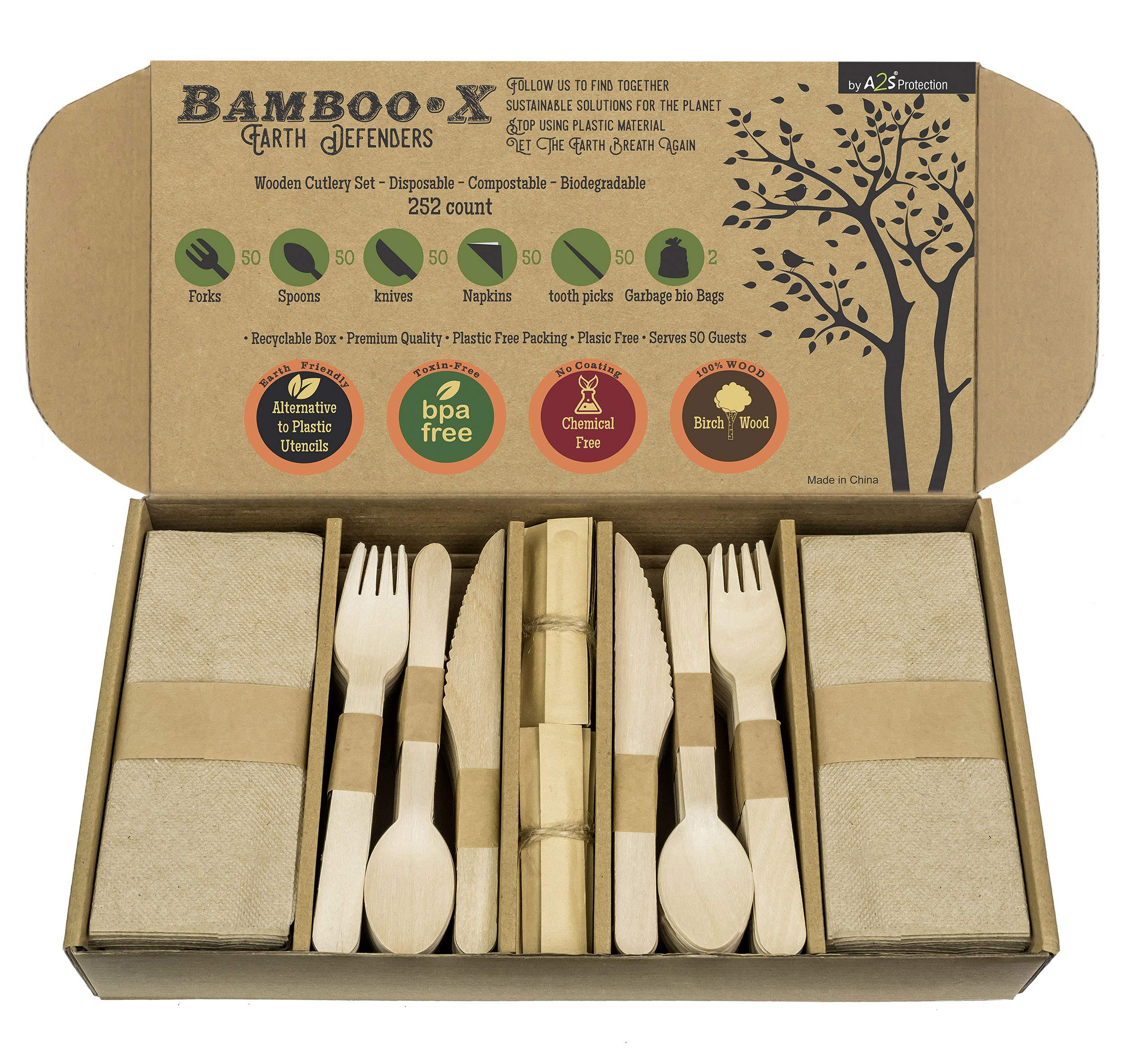 Bamboo -X Utensils Disposable Wooden Cutlery Set 252 Count: 50 Forks 50 Spoons 50 Knives 50 Compostable Brown Napkins 50 Bamboo Toothpicks 2 Biodegradable Trash Bags - Eco Friendly Utensils Set