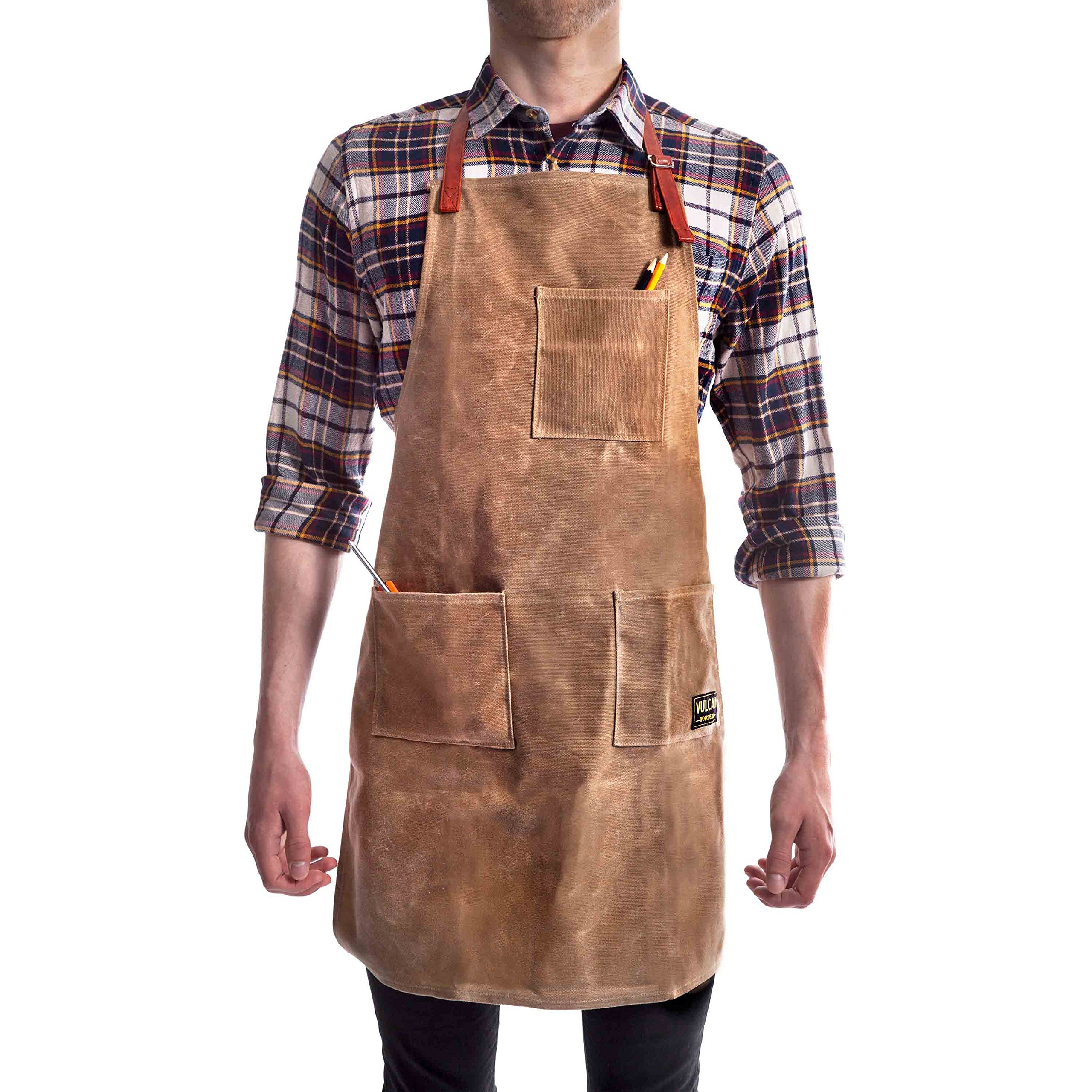 Vulcan Workwear Utility Apron - Multi-Use Shop Apron with Pockets - Waxed Canvas Tool Apron