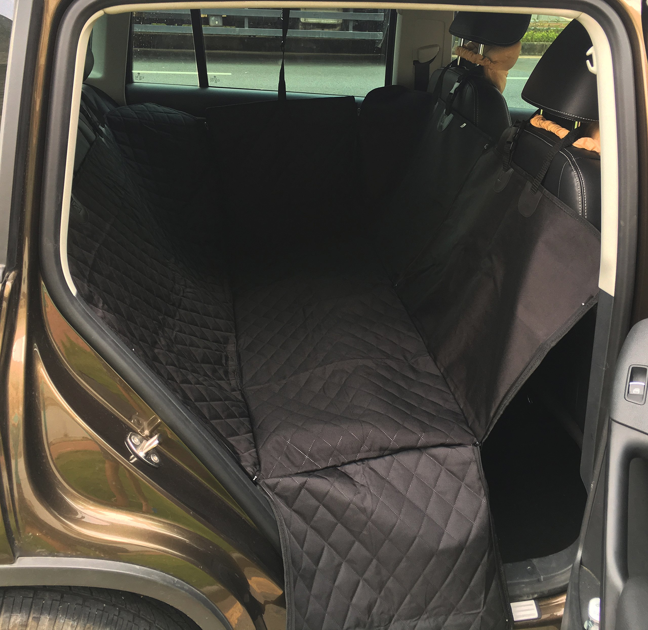 Geepro Waterproof Pet Dog Car Hammock Back Seat Cover Protection Blanket (Enhanced Black)