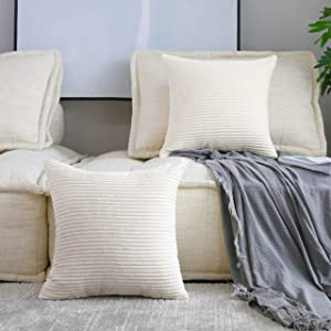 Home Brilliant Set of 2 Striped Velvet Corduroy Euro Throw Pillow Sham Large Cushion Cover for Chair, 24 x 24 inch (60cm), Cream Cheese