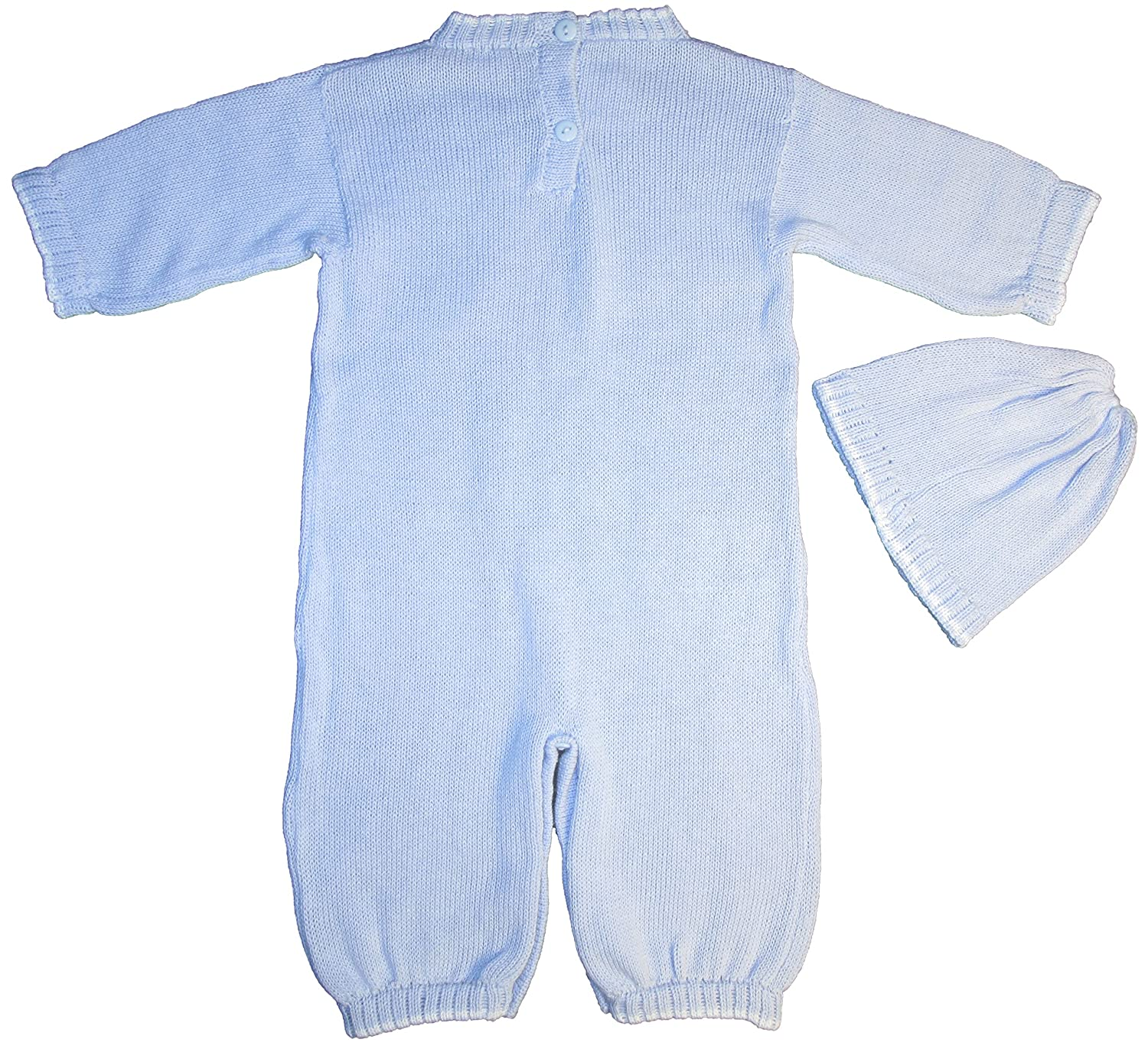 c8b6311dd Amazon.com: 100% Cotton Baby Blue Boys 2 Piece Cable-Knit Longall with Cap  Gift Set: Clothing