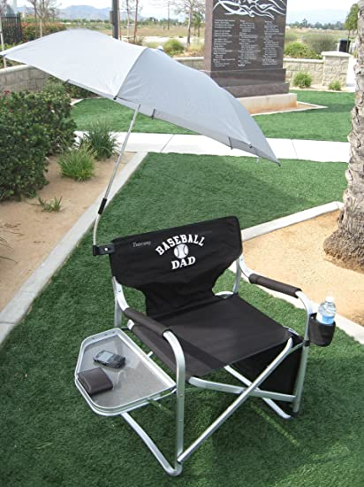 Oasis BASEBALL DAD Director Chair W/ UMBRELLA  A BONUS SOLAR RECHARGEABLE  LED LIGHT INCLUDED