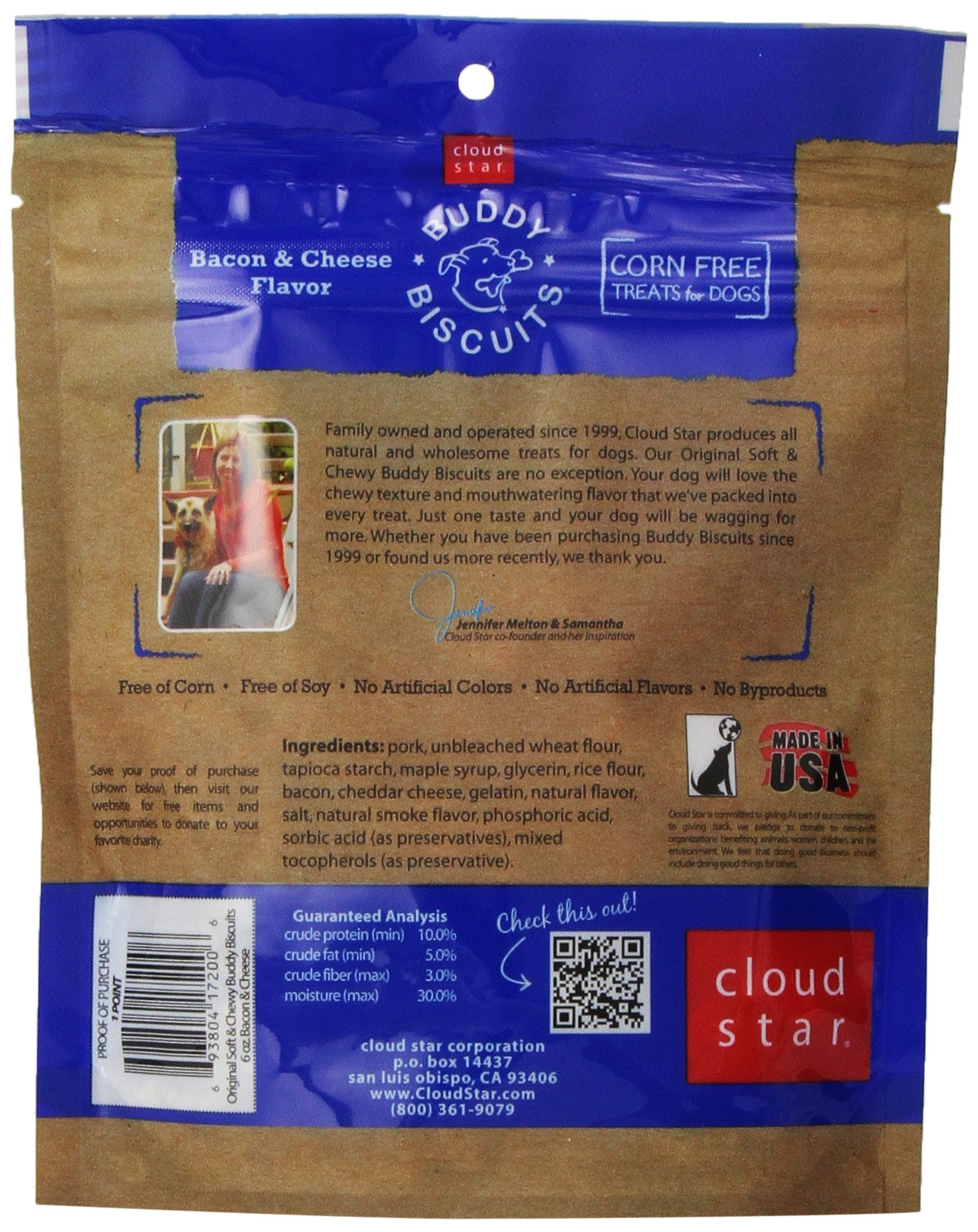 Cloud Star, Soft & Chewy Buddy Biscuits Dog Treats, Bacon and Cheese Flavor, 6-Ounce Pouches (Pack of 4)
