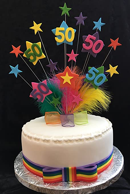 Terrific 50Th Multicoloured Star Birthday Cake Topper With Marabou Feathers Funny Birthday Cards Online Alyptdamsfinfo