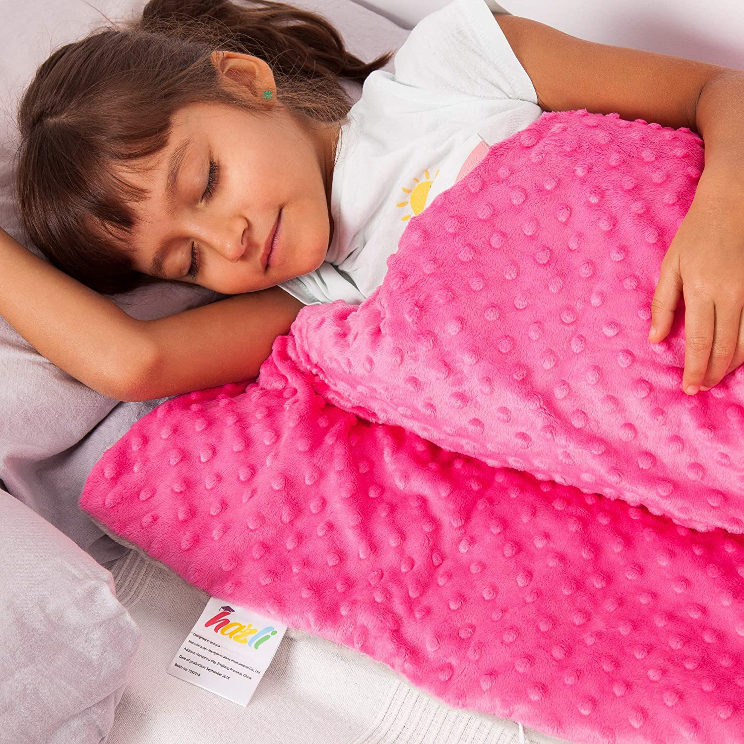 """Calming Weighted Blanket for Kids - Children Heavy Blanket for Sleeping with Minky Cover - Kid Comfort Sensory Blankets Premium Quality for Boys and Girls (Pink, 5 Lbs 36"""" x 48"""")"""
