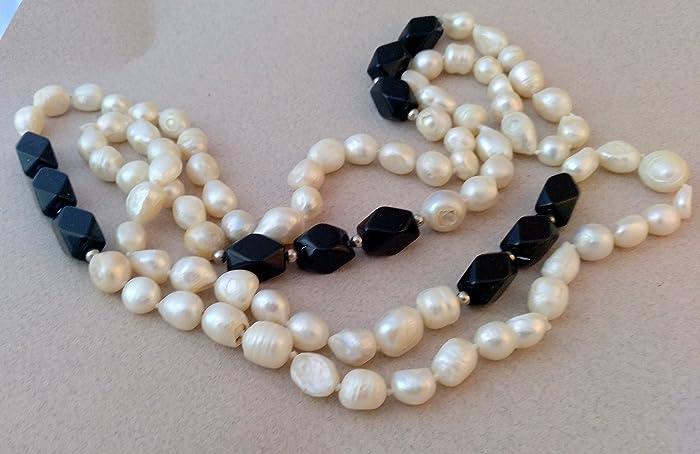 cfb3180b14c2 Collar de perlas barrocas con piedra ónice  Amazon.es  Handmade