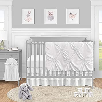 Amazon Com Solid Color White Shabby Chic Harper Baby Girl Crib Bedding Set By Sweet Jojo Designs 4 Pieces Baby