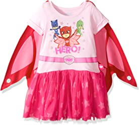 PJMASKS Girls Little Dress W/Tulle and Wing Cape