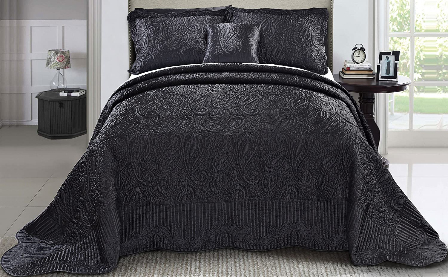 quilt queen set size cover pleat florence pi pintuck wh black doona king duvet