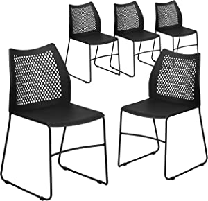 Flash Furniture 5 Pk. HERCULES Series 661 lb. Capacity Black Sled Base Stack Chair with Air-Vent Back