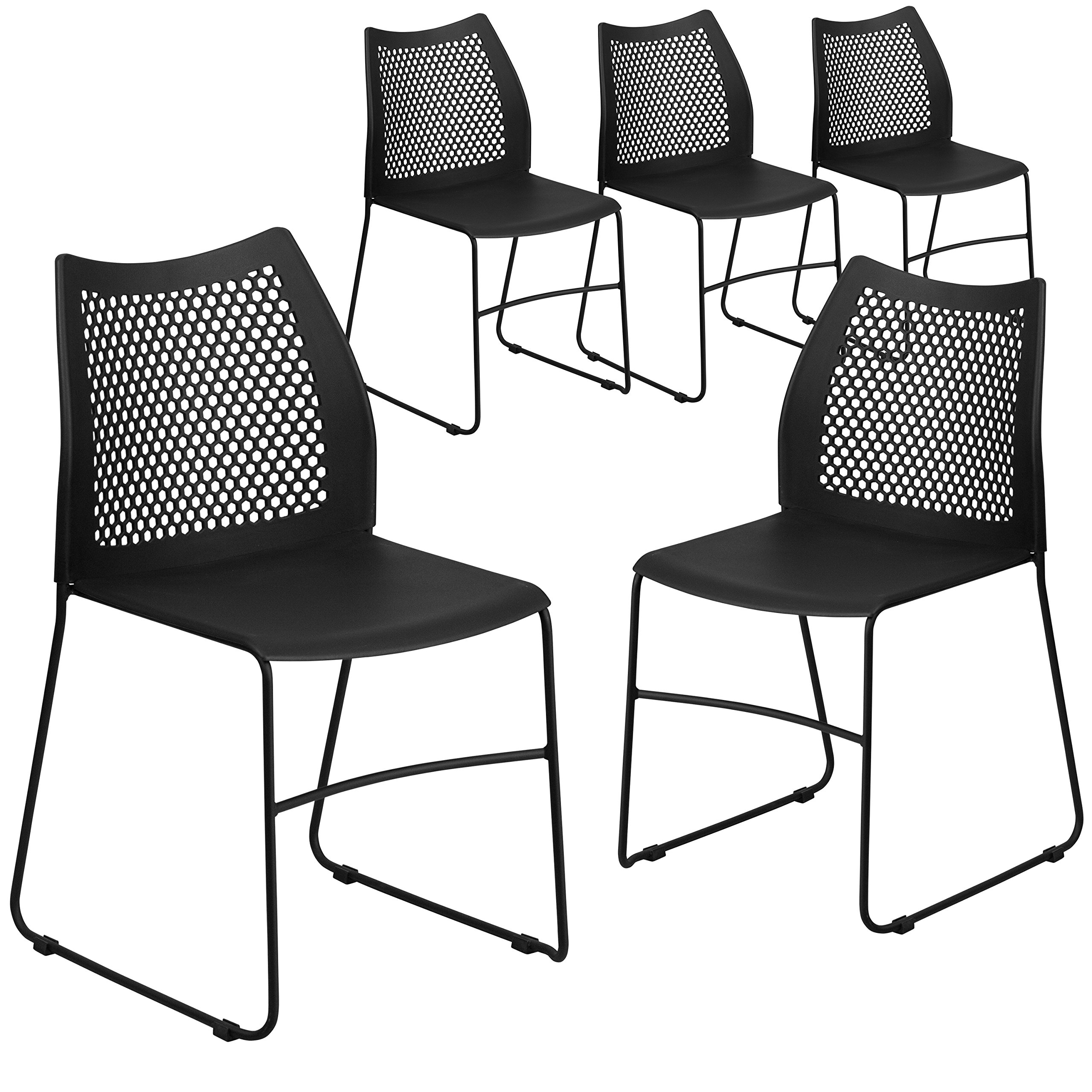 Flash Furniture 5 Pk. HERCULES Series 661 lb. Capacity Black Sled Base Stack Chair with Air-Vent Back by Flash Furniture