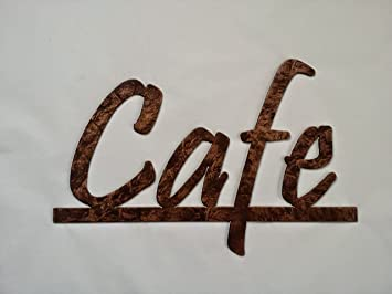 cafe word on bar kitchen and home decor metal wall art antique copper - Bar Wall Decor