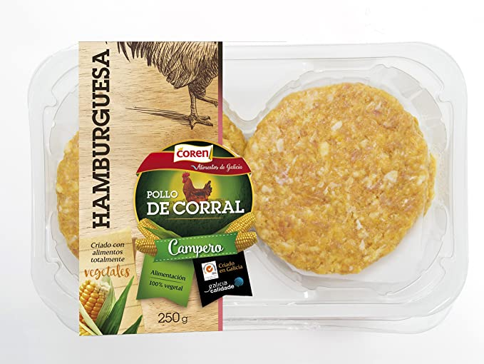Coren - Hamburguesa de Pollo de Corral, 250 gr