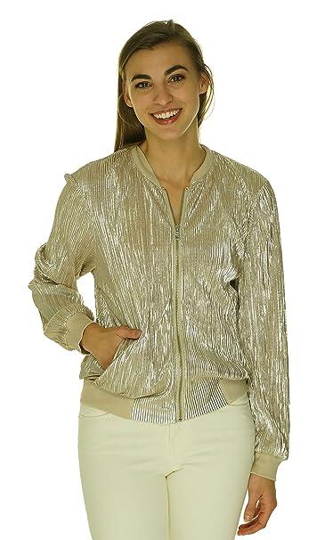 84a5cc9a5 Amazon.com: INC Womens Crinkled Metallic Bomber Jacket Silver L ...