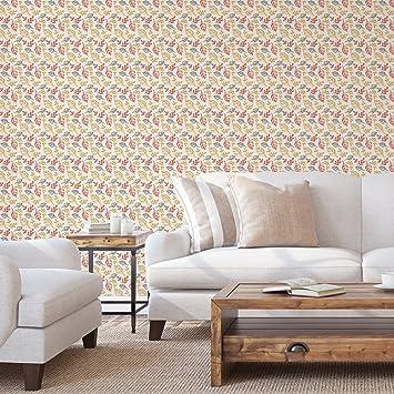 Designer Tapeteu0026quot;Blätterrauschenu0026quot; Modern, Grafisch, Leicht In  Orange   Vlies Tapete Blumen