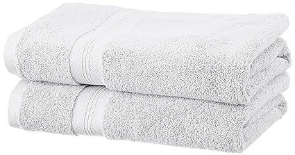 Pinzon - Juego de toallas de algodón Pima (2 toallas de baño + 2 toallas de mano), color platino: Amazon.es: Hogar