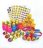 72 Piece Emoji Party Pack Party Supplies Party Favor Assortment: Emoji Bracelets, Emoji Bubbles, Emoji Rings, Emoji Stickers, Emoji Stamps, Emoji Coils